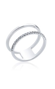 18ct White gold double row cocktail ring.