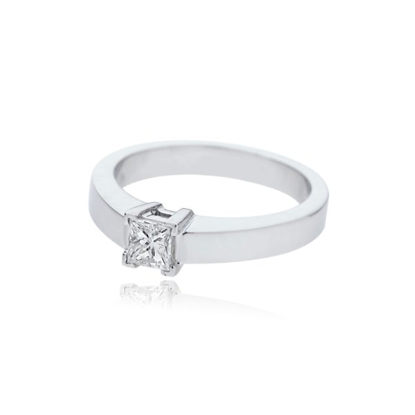 18ct White gold princess cut solitaire diamond ring