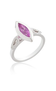 18ct White gold marquise cut pink sapphire ring