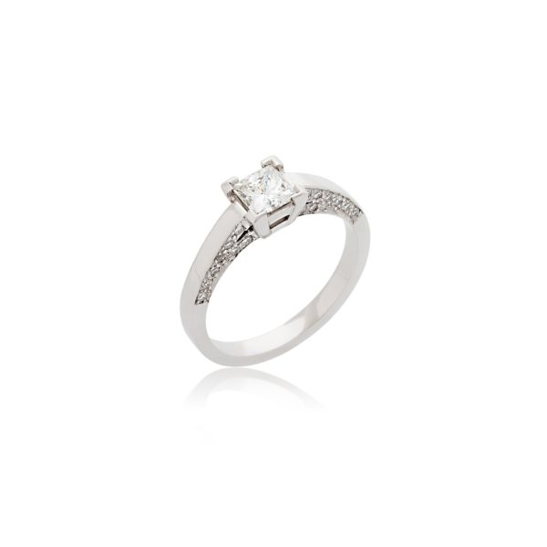 Platinum princess cut diamond ring with diamond set shoulders