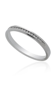 Palladium channel half eternity diamond ring.