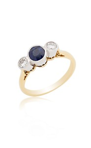 18ct Yellow gold round sapphire & brilliant cut diamond 3 stone ring