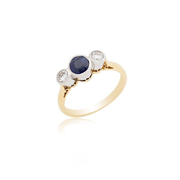 18ct Yellow gold round sapphire & brilliant cut diamond 3 stone ring