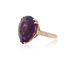 18ct Rose gold pear cut amethyst and diamond cocktail ring.