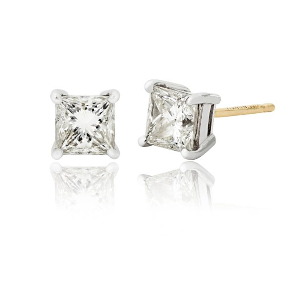 White Gold Princess Cut Diamond Earrings with yellow gold