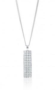 18ct white gold pave set diamond rectangular pendant
