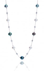 18ct White Gold Akoya and Tahiti Pearl chain and diamond necklet.