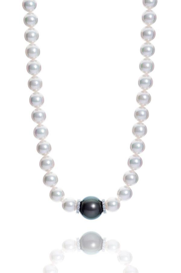 Large Akoya and Tahiti pearl and diamond necklet.