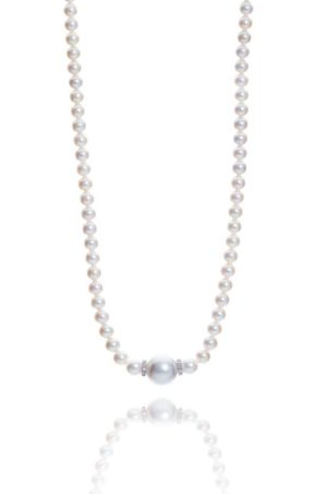 18ct white gold Chanel style pearl and diamond necklet