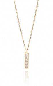 18ct yellow gold brilliant cut diamond 8 stone strip pendant