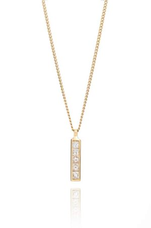 18ct yellow gold brilliant cut diamond 8 stone strip pendant