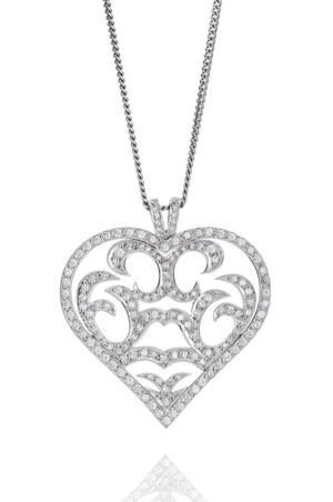 18ct White gold pave set fancy heart shape diamond pendant