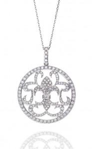 18ct White Gold Fancy Circle Diamond Pendant
