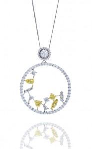 18ct white gold open circle brilliant cut pendant