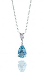 18ct White gold pear cut blue aquamarine and diamond pendant