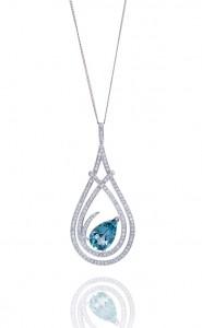 18ct White gold pear cut blue aquamarine and diamond pave set pendant
