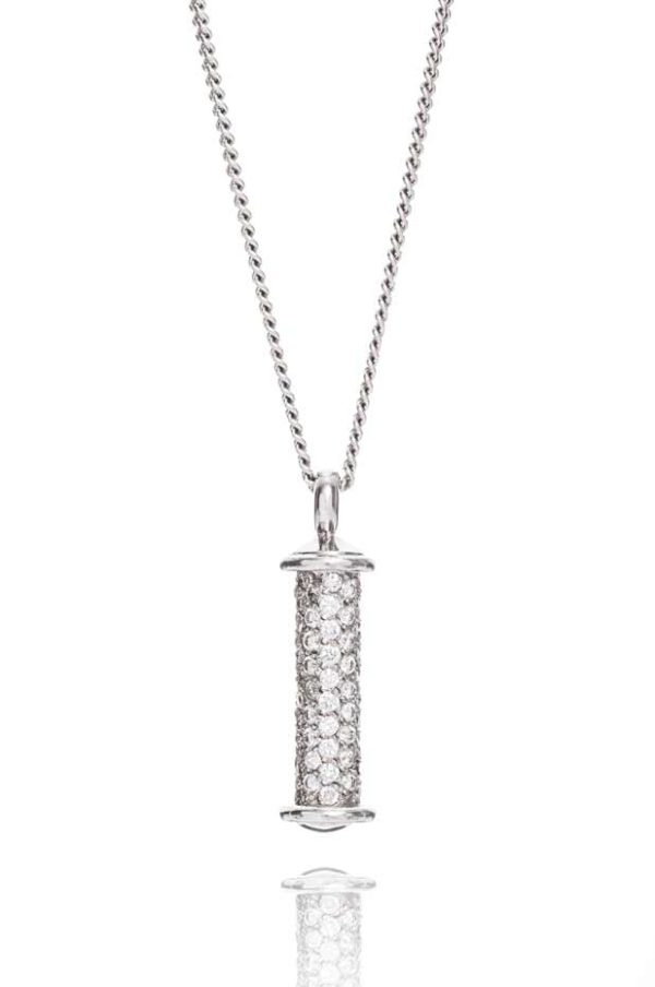 18ct white gold diamond pave set barrel pendant.