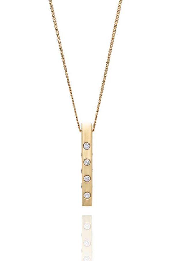 18ct yellow gold diamond block pendant