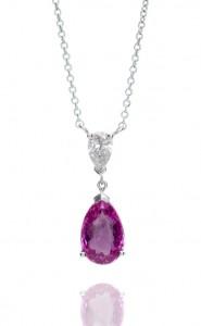18ct white gold pear cut pink sapphire and pear cut diamond pendant