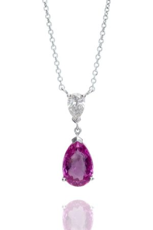 18ct white gold pear cut pink sapphire and pear cut diamond pendant