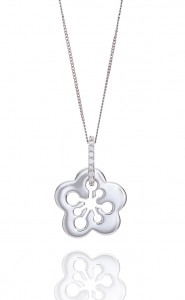 18ct White gold floral style diamond pendant