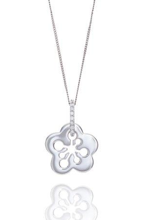 18ct White gold floral style diamond pendant