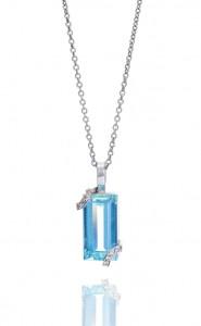 18ct White gold emerald cut aquamarine and diamond set pendant
