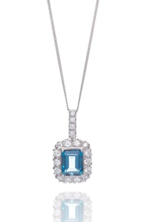 18ct White gold pendant emerald cut blue topaz