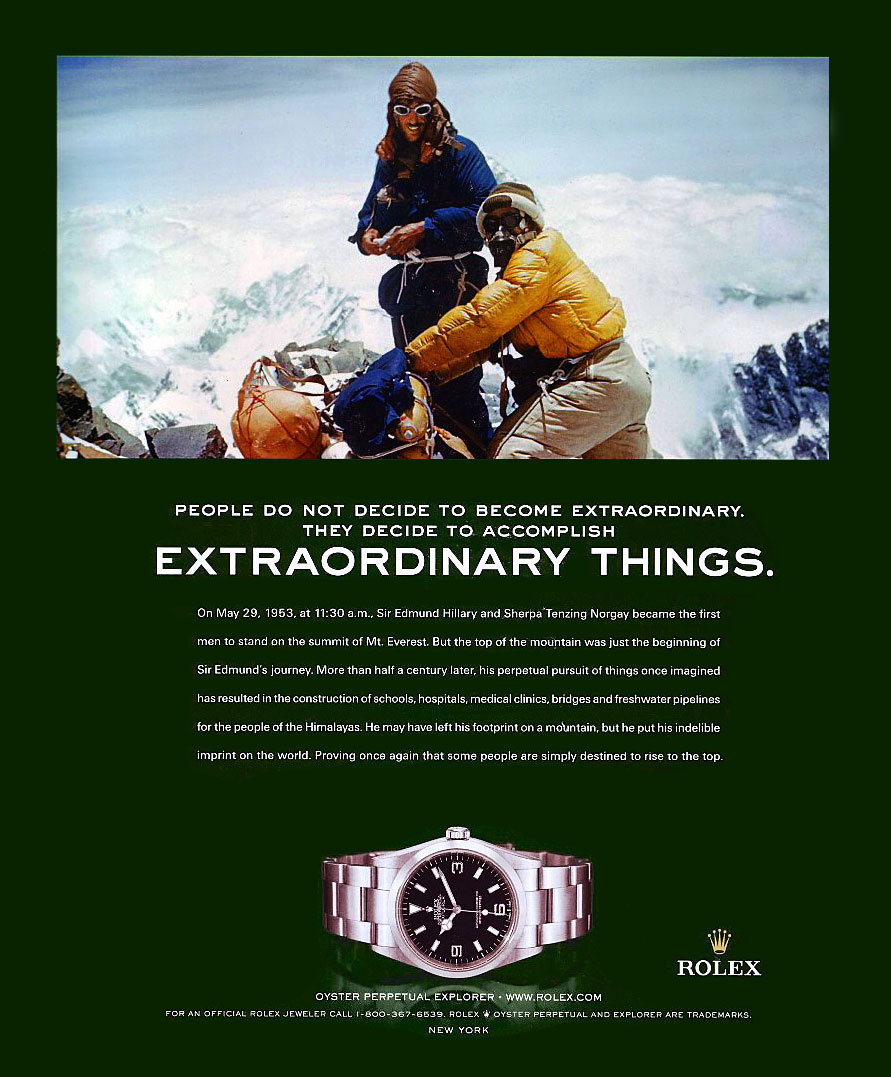 Extraordinary Things, Rolex Explorer Ad.
