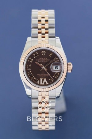Ladies bi-metal steel and pink gold Rolex Oyster Perpetual Datejust 179171