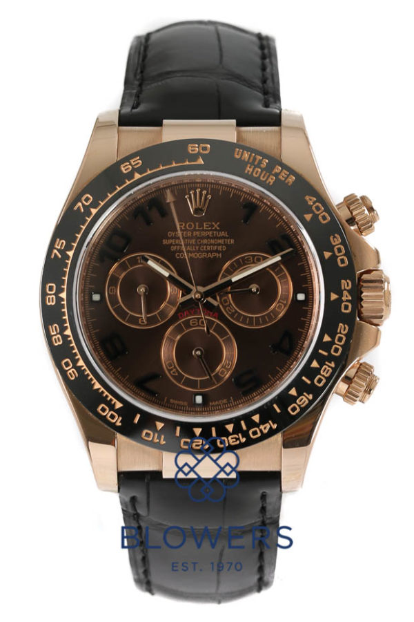 Rolex Oyster perpetual Cosmograph Daytona 116515LN. 40mm Rose Gold case. Water resistant to 100 meters. Automatic Chronometer chronograph movement. Chocolate dial with chocolate sub-dials, luminous hour markers and hands. Black monobloc Cerachrom Tachymeter bezel. Black croc strap with 18ct folding clasp. Box and papers dated August 2015. RRP £19,670